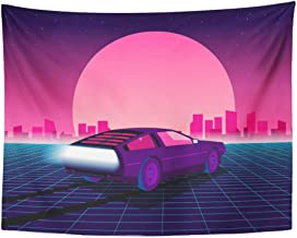 Emvency Tapestry Wall Hanging Retro Future 80S Sci Fi Supercar Futuristic Car Synth in 1980S Suitable for Any 60