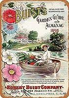 1896年のブイストの庭のガイドと年鑑ブリキの看板ヴィンテージ面白い生き物鉄の絵金属板ノベルティ