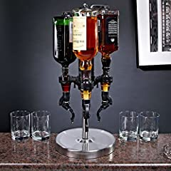 Professional revolving liquor dispenser Rotates for quick and easy access to any bottle; simple push and pour action Great for holidays, parties and home bars Allows for precise portion control Stand made of stainless steel