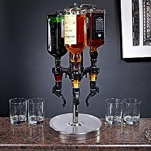 OGGI 3-Bottle Revolving Liquor Dispenser, Stainless Steel