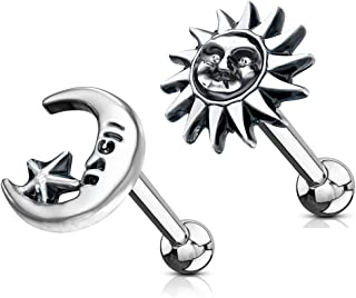 MoBody 2 Pieces Antique Sun and Moon Tragus Earring Set Surgical Steel Cartilage Piercing Barbell Stud 16G