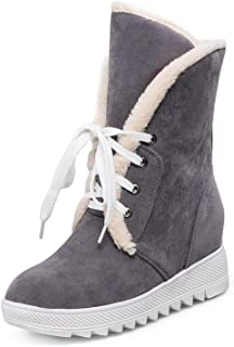 c2efc0f6f314 AllhqFashion Women s Lace-up Kitten-Heels Imitated Suede Solid Low-Top Boots