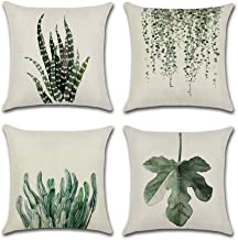 INSHERE Farmhouse Set of 4Pcs Green Leaf Plants Throw Pillow Covers Tropical Fern Linen Cushion Cover Cases Leaves Decorative Square Cotton Case for Bed Sofa Car Coffee Outdoor 18x18 inches