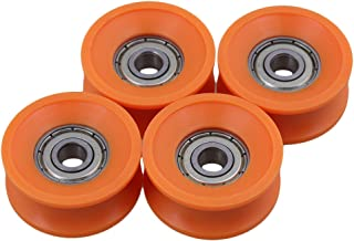 CNBTR 4Pieces 6x30x13mm Plastic Coated Sealed Bearings Steel 606ZZ Deep U Groove Guide Pulley Rail Ball Rolling Bearing Wheel Orange