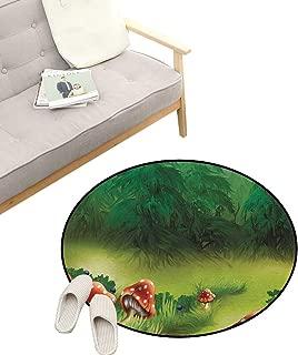 Mushroom Round Rug Living Room ,Fly Agarics Magical Wonderland Lawn Meadow Scenery Greenwood, Bedrooms Laundry Room Decor 47