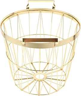 Prettyia Metal Wire Organizer Storage Bin Baskets, Nordic Style Laundry Hamper with Handles, for Kitchen, Bathroom, Pantry, Laundry Room - Gold M