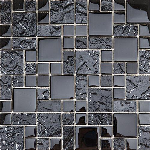 30x 30cm liscia e struttura di vetro smaltato mosiak Piastrelle Matte in Nero (mt0144)