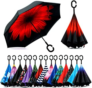 Z ZAMEKA Double Layer Inverted Umbrellas Reverse Folding Umbrella Windproof UV Protection Big Straight Umbrella Inside Out Upside Down for Car Rain Outdoor with C-Shaped Handle, N Red Daisy
