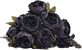 Kimura's Cabin Peony Artificia Flowers Fake Silk Peonies Flower Bouquet for Home Halloween Party Decor (Black)