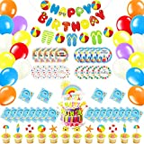 Beach Ball Birthday Party Supplies Include Happy Birthday Banner, 20pcs Balloons, 20pcs Napkins and Plates, 12pcs Cupcake Toppers, 1pcs Cake Toppers, Pool Party Favors for Kids, Teens, Adults