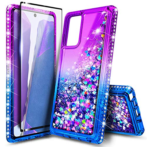 NZND Case for Samsung Galaxy S20 FE 5G with Tempered Glass Screen Protector (Full Coverage), Sparkle Glitter Flowing Liquid Quicksand Shiny Bling Diamond, Women Girls Cute Phone Case -Purple/Blue