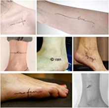 Everjoy Realistic Tiny Temporary Tattoos - 60 Pcs, Waterproof Quotes, Words, Lines, Flowers, Leaves, Artworks for Kids, Adults, Women and Men