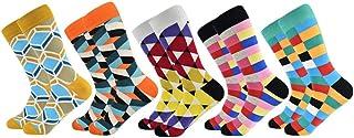 Calcetines de los hombres ocasionales Nuevos calcetines Diseño de moda A cuadros Coloridos Negocios felices Vestido de fiesta Calcetines de algodón Hombre 40-46 5 pares de calcetines