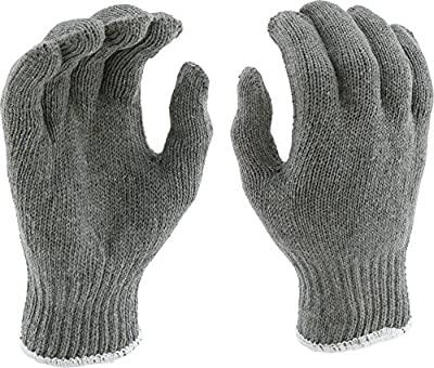 West Chester 712SG Heavy Weight String Knit Gloves [Gray] - [Pack of 12 Pairs] 9.5 in. Length, 4 in. Width 7 Cut Poly Cotton Safety Gloves, Grey, Large