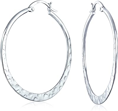 Boho Grande martellato piatto sottile grande orecchini a cerchio per le donne per adolescente 925 sterling argento 1.5 pollici Dia