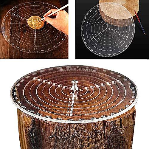 Outil de recherche de centre Boussole à bois pour tourneurs de bois Bols Tour Travail Acrylique clair Dessin Cercles Diamètre 300 MM