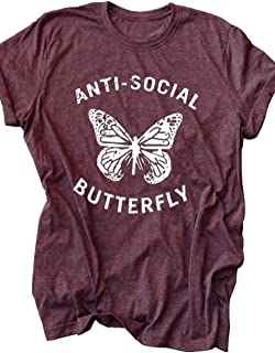 Womens Introvert Anti-Social Butterfly T-Shirt Summer Casual Short Sleeve Graphic Tees