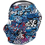 Baby Car Seat Covers Harajuku Graffiti Hip Hop Punk Rock Cool-Blue Nursing Breastfeeding Covers, Shopping Cart/High Chair Covers, Baby Shower Gifts 26''x27.6''