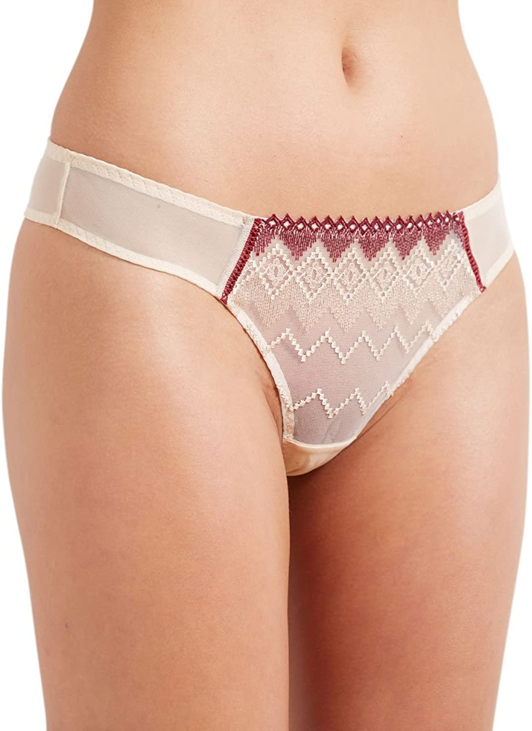 Barbara 223631 Women's Totem Liana Beige Embroidered Knicker Gstring Tanga