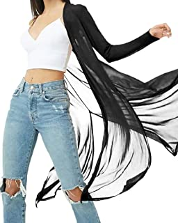 BelleLovin Womens Sexy Sheer Long Sleeve Cardigan See Through Mesh Cover Up