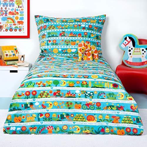 byGraziela Kinderbettwäsche Schlaflied / 100 x 135cm + 60 x 40cm / Kinderbettwäschen-Set mit Kissenbezug Größe Kindergröße