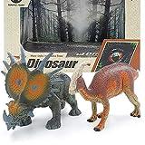 Milaski Dinosaur Figures,2 Pack Realistic Dinosaur Toys 6.5-7.2 Inch Jurassic Dinosaur Figurine Set for Dinosaur Lovers,Kids  Edu,Birthday Present or Party Favor (Styracosaurus,Parasaurus)