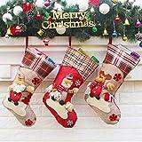 Leipple Calcetín de Navidad 3 Piezas -48 cm grandes medias navideñas para chimenea, árbol de Navidad -bolsa de regalo para calcetines, bolsa para dulces con Papá Noel, muñeco de nieve, reno