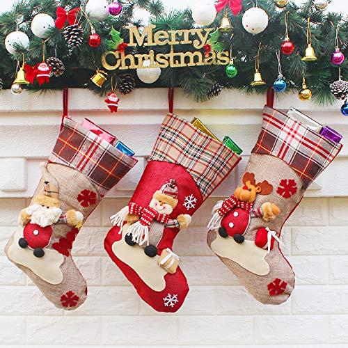 Leipple Calza di Natale Set di 3 -48 cm calze da appendere grandi per camino, albero di Natale, decorazioni stagionali -Borsa regalo Candy Pouch Bag con Babbo Natale,pupazzo di neve,renna