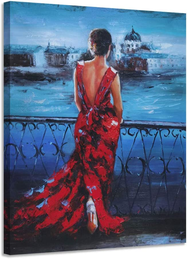 Under blast sales Anolyfi Abstract Hand free Painted Oil Red Painting Elegant Canv Lady