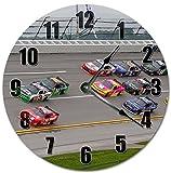 OliveLewis - Reloj de pared redondo de madera, 30 cm, diseño clásico de Nascar Racing