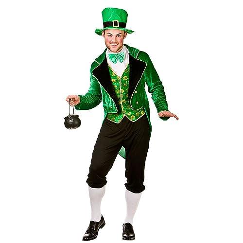 "Adults Mens Deluxe Leprechaun Costume for St Patricks Days Ireland Fancy Dress (L) Large Chest 44"" Waist 36-41"" Leg 32"""