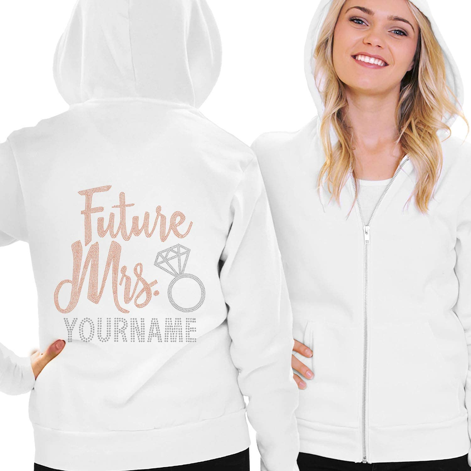 Personalized Future Mrs Hooded Sweatshirt for Bride to Be