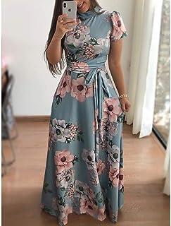FDBZ Flower Print Long Sleeve Maxi Dress Spring Autumn Casual Slim Sashes Long Dress Women Elegant Robe Party Dresses Plus Size |Dresses,1018 ShortLight Blue,5XL