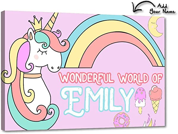 Nutcase Personalized Kids Baby Room Door Sign Name Plate Wall Plaque Screws Included 12 X8 Magical Unicorn Rainbows