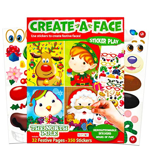Bendon Publishing Christmas Make a Face Sticker Book for Kids Toddlers -- Giant Christmas Sticker Book with 32 Santa, Elf, Reindeer Festive Faces and 350 Stickers (Sticker Face Activity Set)