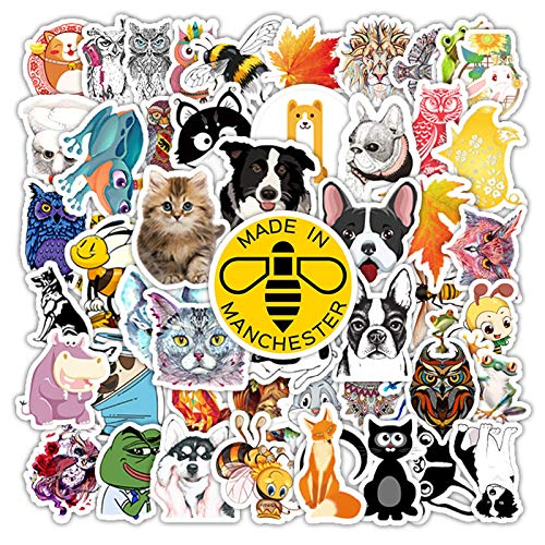 WYDML Lindo Animal de Dibujos Animados Doodle Pegatina Maleta Maleta Coche teléfono Guitarra Decorada Pegatina Impermeable 50 Uds