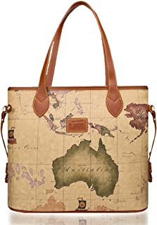Large Retro Waterproof Leather World Map Handbag Tote Bag for Women (Brown)