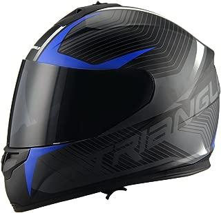 Triangle Full Face Dual Visor Matte Black Street Bike Motorcycle Helmet (Matte Blue, Large)