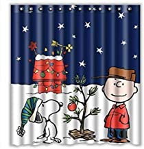 Eaiven Snoopy Christmas Shower Curtain, Funny Charlie Brown Waterproof Shower Curtains Navy Blue Bath Curtain Kids Cute Bathroom Set with Hooks for Thanksgiving Halloween Decoration Home Decor 72