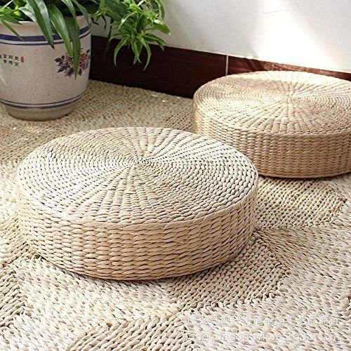 MAHAO Japanese Style Handcrafted Eco-Friendly Padded Knitted Straw Flat Seat Cushion,Hand Woven Tatami Floor Cushion Corn Maize Husk (Dia50cm/19.7