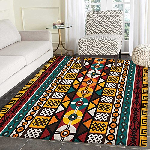 Kente Pattern Print Area Rug Vertical Borders Inspired by Primitive African Cultures Geometrical Design Indoor/Outdoor Area Rug 4'x5' Multicolor