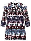 Amy Byer Girls' Big 3/4 Sleeve A-Line Dress, Blue/red Floral Kaleidoscope Stripe, L