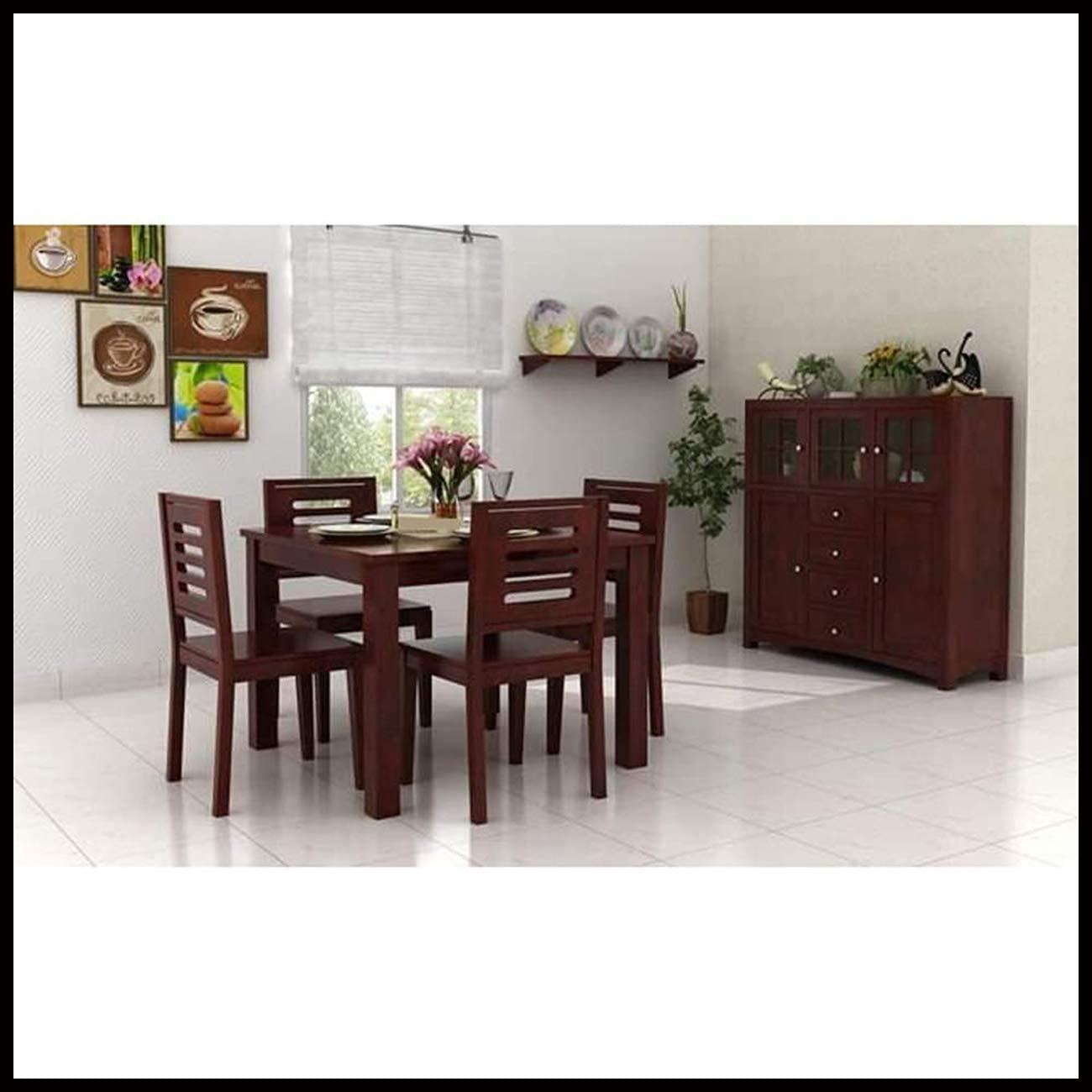 AASALIYA Solid Sheesham Wood Wooden Dining Table with 4 Chairs   4 Seater Dining Set   Wooden Dining Table with Chair – Dining Room Furniture  …