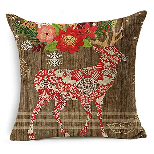 Fenglang Christmas Style cotone lino divano vita cuscino cuscino di ringraziamento #4 Deer and flower