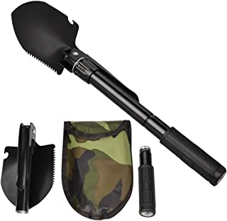 Oziral Military Folding Shovel Multipurpose Tool for Outdoor Survival Portable with Carrying Pouch for Camping, Hiking, Backpacking, Gardening, Snow Beach Other Outdoor Activities
