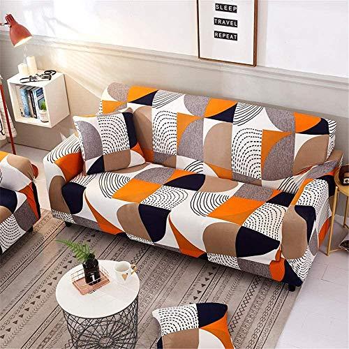HFTYCC 1,2,3,4 Funda de sofá elástica para Sala de Estar, Funda para Muebles con Fondo elástico, Protector Antideslizante para Muebles, 3 plazas, Rompecabezas Naranja