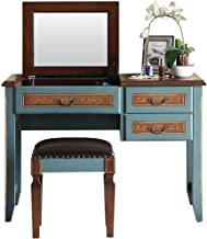 Solid Wood Clamshell Multifunctional Dressing Table, 2 Drawers and 1 Compartment Dressing Table Set, Dressing Table with L...