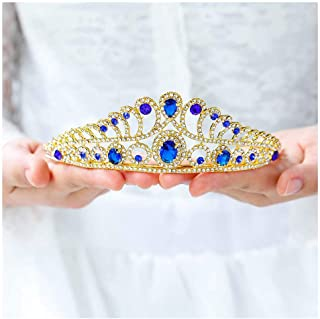 Yalice Bride Crystal Wedding Crown and Tiara Gold Princess Queen Bridal Headband Hair Accessories for Women and Girls