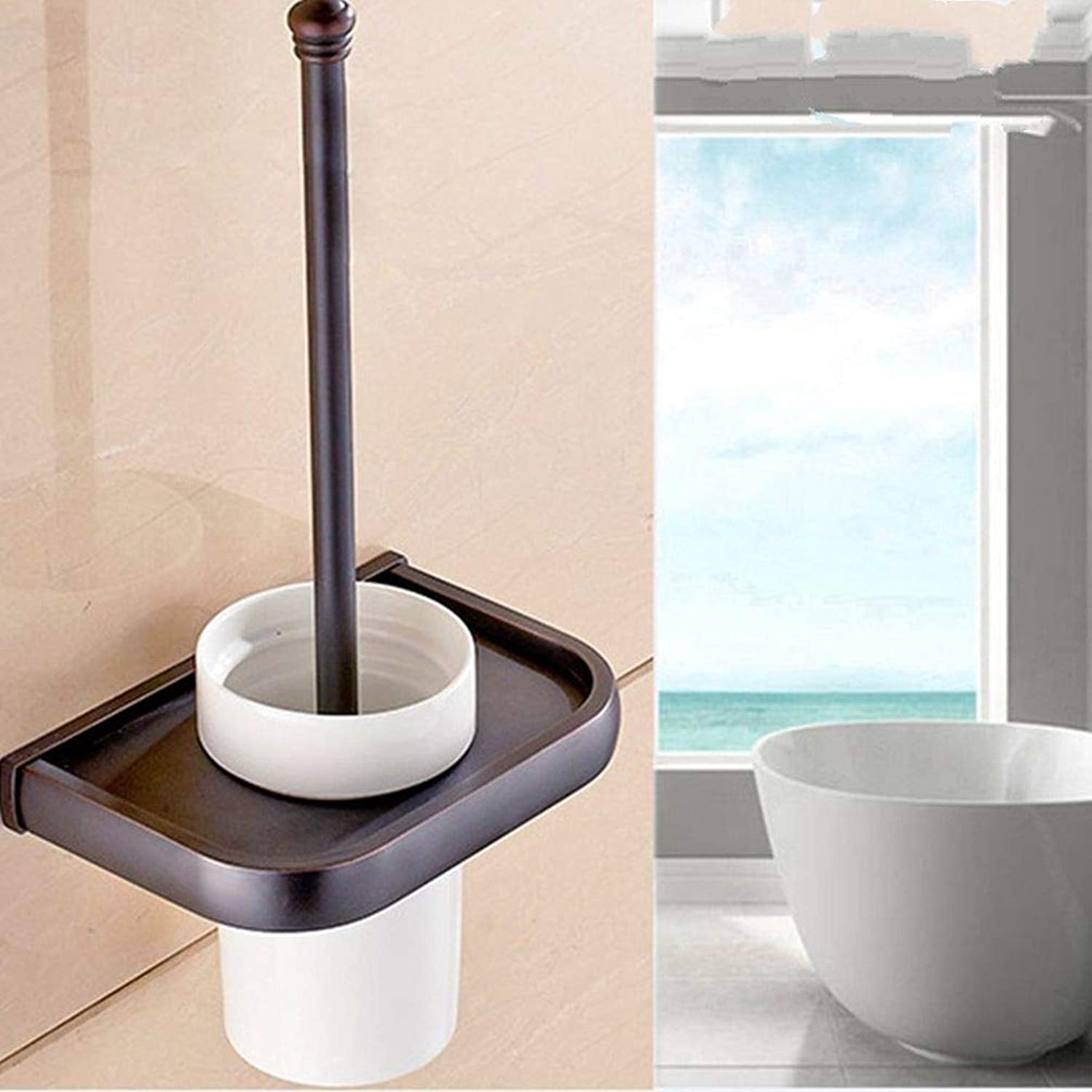LUDSUY Contemporary Simplicity Toilet Brush Holder for Bathroom ∕ Home ∕ Hotel ∕ Motel, Classic Black, Heavy DutyBathroom Accessories