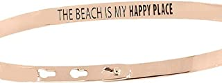 Chelsea Taylor Memory Bracelet - Mantra Band - The Beach is My Happy Place - 3-Way Adjustable Bangle, 3 Finishes